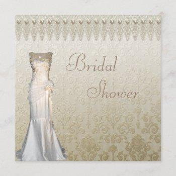 vintage wedding gown pearls & lace bridal shower invitation