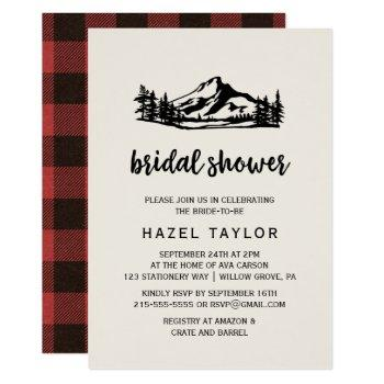 vintage wilderness | buffalo plaid bridal shower invitation