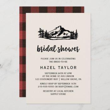 vintage wilderness | buffalo plaid bridal shower invitation