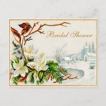 vintage winter snow church & lilies bridal shower invitation