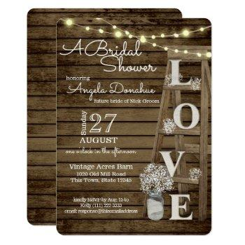 vintage wood ladder bridal shower invitation