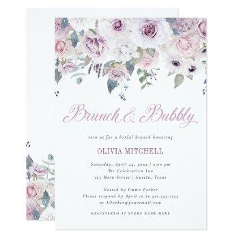 violet blush | floral bridal brunch and bubbly invitation