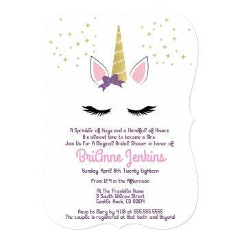 violet the unicorn purple bridal shower invite
