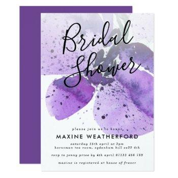 violet watercolor orchid bridal shower invitation