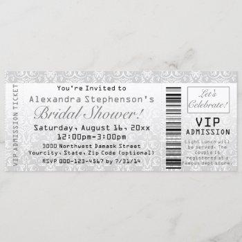 vip bridal shower admission ticket invitation