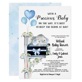 virtual baby shower by mail boy elephant invitation