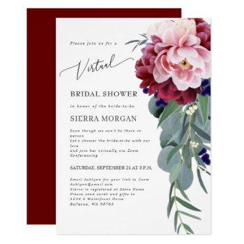 virtual bridal shower blush pink burgundy floral invitation