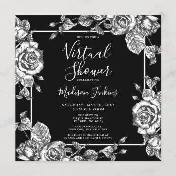 virtual bridal shower elegant black white floral invitation