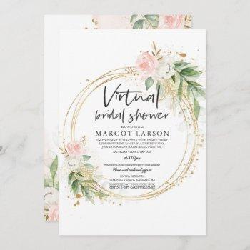 virtual bridal shower invitation greenery & gold