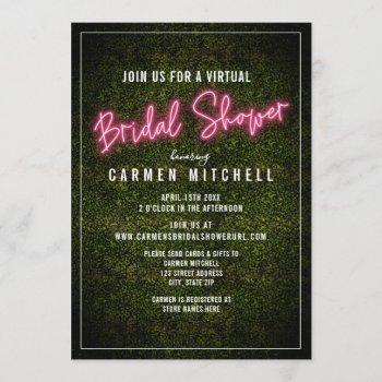 virtual bridal shower pink neon invitation