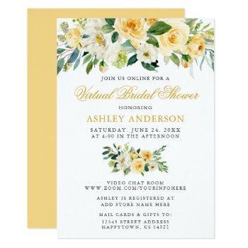 virtual bridal shower watercolor yellow floral invitation