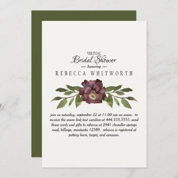 virtual deep plum floral & foliage bridal shower invitation