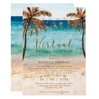 virtual shower by mail beach bridal shower invitation