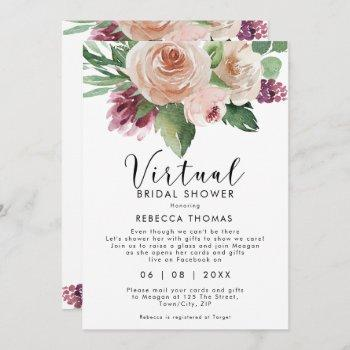 virtual shower by mail floral bridal shower invitation