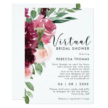 virtual shower by mail florals bridal shower invitation