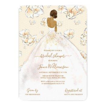 watercolor african american bride bridal shower invitation