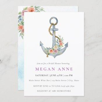 watercolor anchor & flowers wedding shower invite