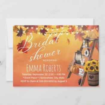 watercolor autumn leaves love ladder bridal shower invitation