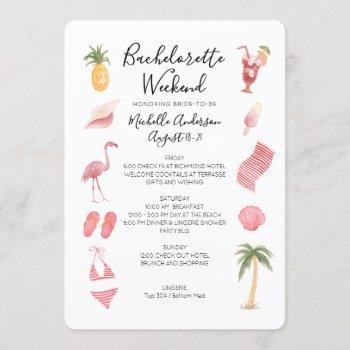 watercolor beach bachelorette weekend itinerary invitation