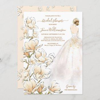 watercolor blonde bride magnolia bridal shower invitation