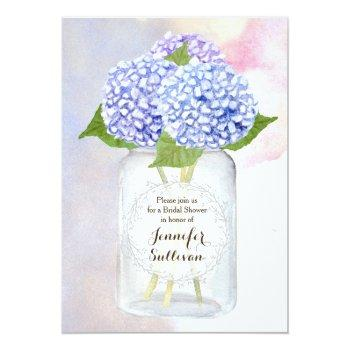 watercolor blue hydrangea mason jar bridal shower invitation