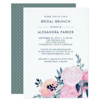 watercolor blush and navy floral bridal brunch invitation
