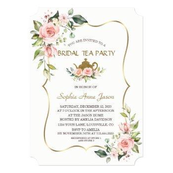 watercolor blush flowers gold bridal tea party invitation