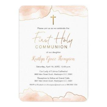 watercolor blush pink gold first holy communion invitation