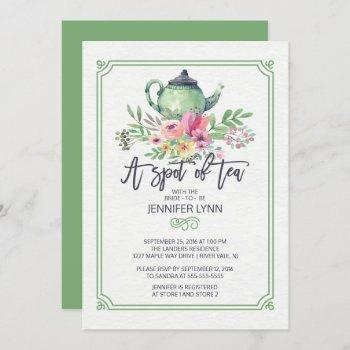 watercolor bridal shower spot of tea shower invite