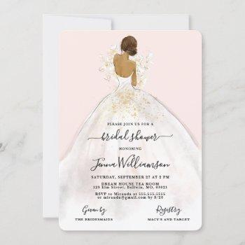 watercolor bride in gown bridal shower invitation