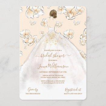watercolor brunette bride bridal shower invitation