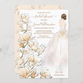 watercolor brunette bride magnolia bridal shower invitation