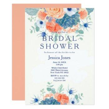 watercolor coral blue rustic floral bridal shower invitation