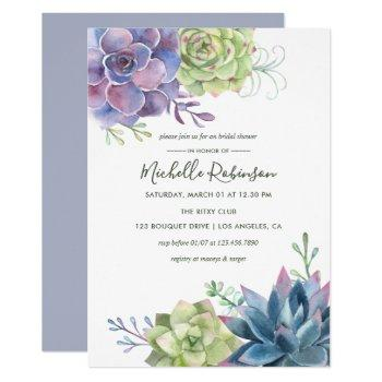watercolor desert cactus succulents bridal shower invitation