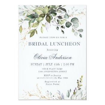 Small Watercolor Eucalyptus Greenery Bridal Luncheon Invitation Front View