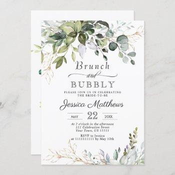 watercolor eucalyptus greenery brunch & bubbly invitation