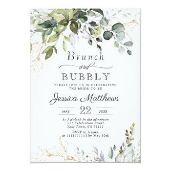 Watercolor Eucalyptus Greenery Brunch & Bubbly Invitation Front View