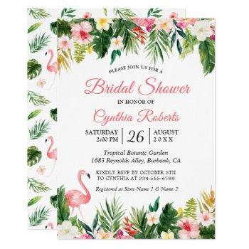 watercolor flamingo tropical floral bridal shower invitation