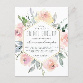 watercolor floral blush pink & gold bridal shower invitation postcard