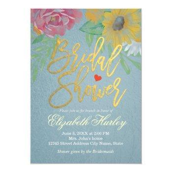 watercolor floral bridal shower tiffany blue foil invitation