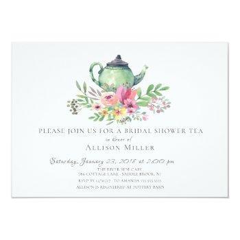 Watercolor Floral Bridal Tea Party Invitation Front View