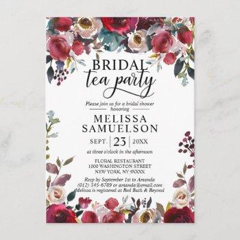 watercolor floral burgundy tea party bridal shower invitation