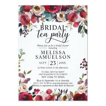 watercolor floral burgundy tea party bridal shower invitation