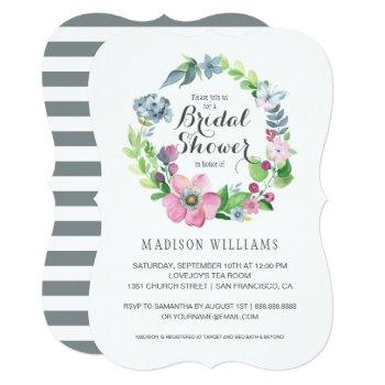 watercolor floral & butterfly | bridal shower invitation