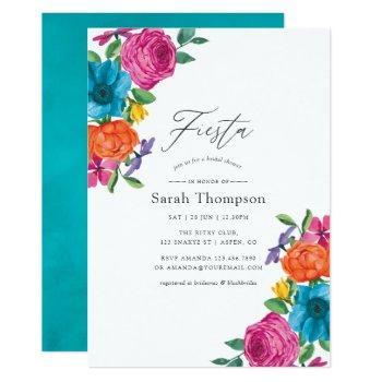 watercolor floral fiesta bridal shower invitation
