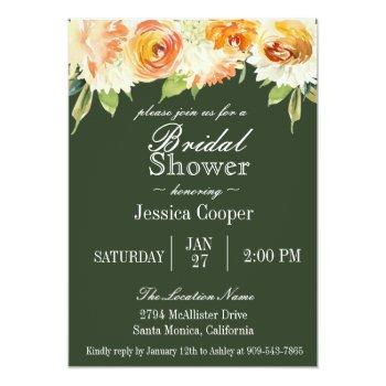 watercolor floral forest green bridal shower invitation