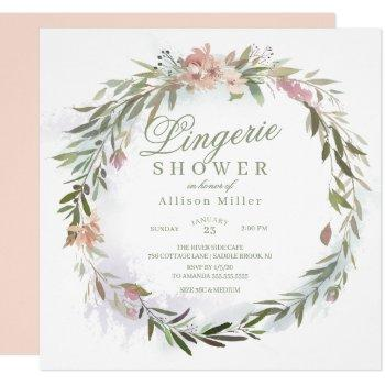 watercolor floral greenery wreath lingerie shower invitation