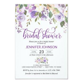 watercolor floral lavender purple bridal shower invitation