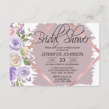 watercolor floral lavender purple bridal shower invitation