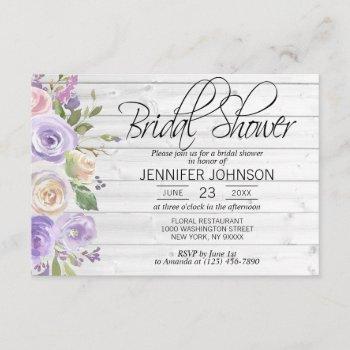 watercolor floral lavender rustic bridal shower invitation